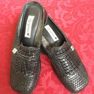 Brighton black woven leather mules/clogs